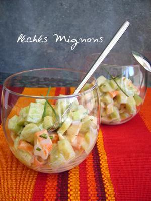 Salade de concombre au surimi paperblog for Entree facile rapide et originale