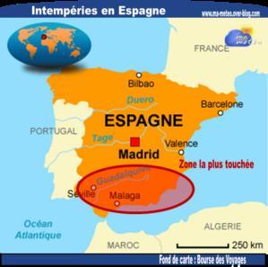 [Espagne] Tempête en Andalousie : pluies diluviennes et vents violents