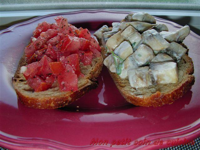 Bruschettes tomates et champignons