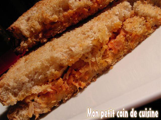 Croque au thon et carottes râpées (sans lait de vache)