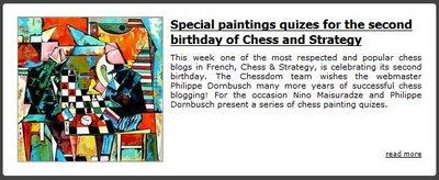 L'anniversaire de Chess & Strategy sur Chessdom avec le Nino Chess Quiz