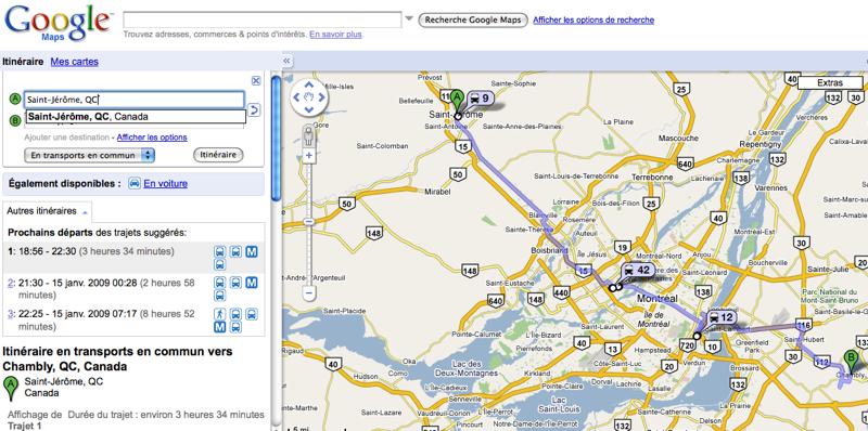 google-maps-transport-publics Google Maps intègre tous les transports publics de la région de Montréal