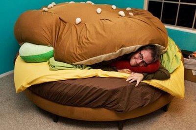 bed burger lit hamburger