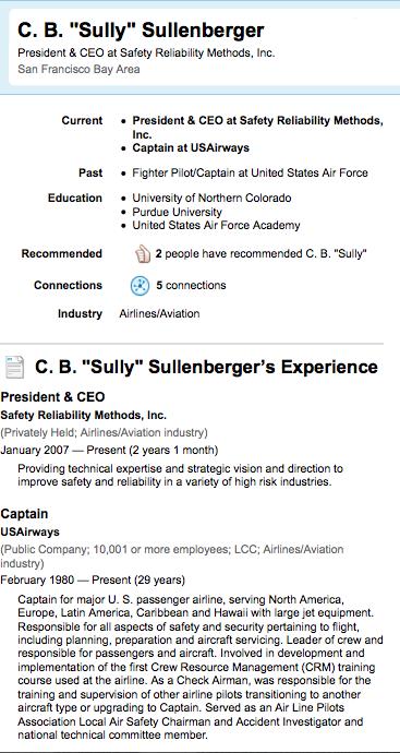 """LinkedIn célèbre le héros du jour: Capt. Chesley B. """"Sully"""" Sullenberger"""