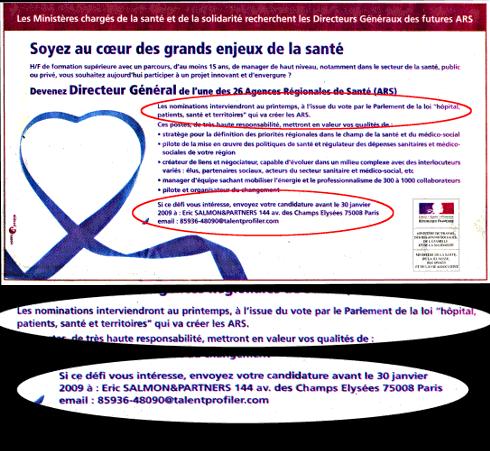 Annonce de recrutement des directeurs généraux de santé parue dans Le Monde