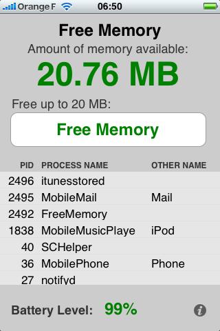 Free Memory - Gérer la mémoire de votre iPhone (App Store)