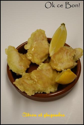 Beignets de poulet sauce citron gingembre