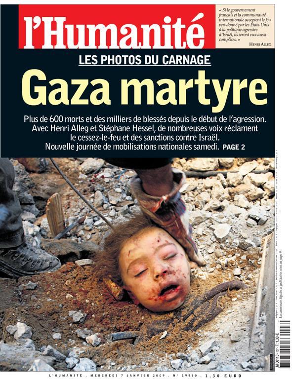 Une de l'Humanité pendant le conflit de Gaza