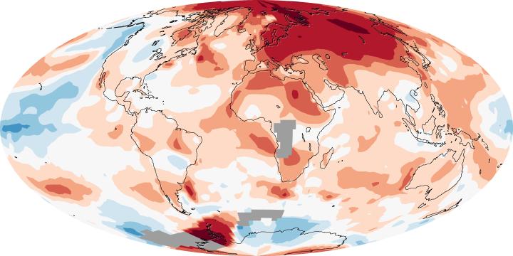 Carte des anomalies des températures en 2008