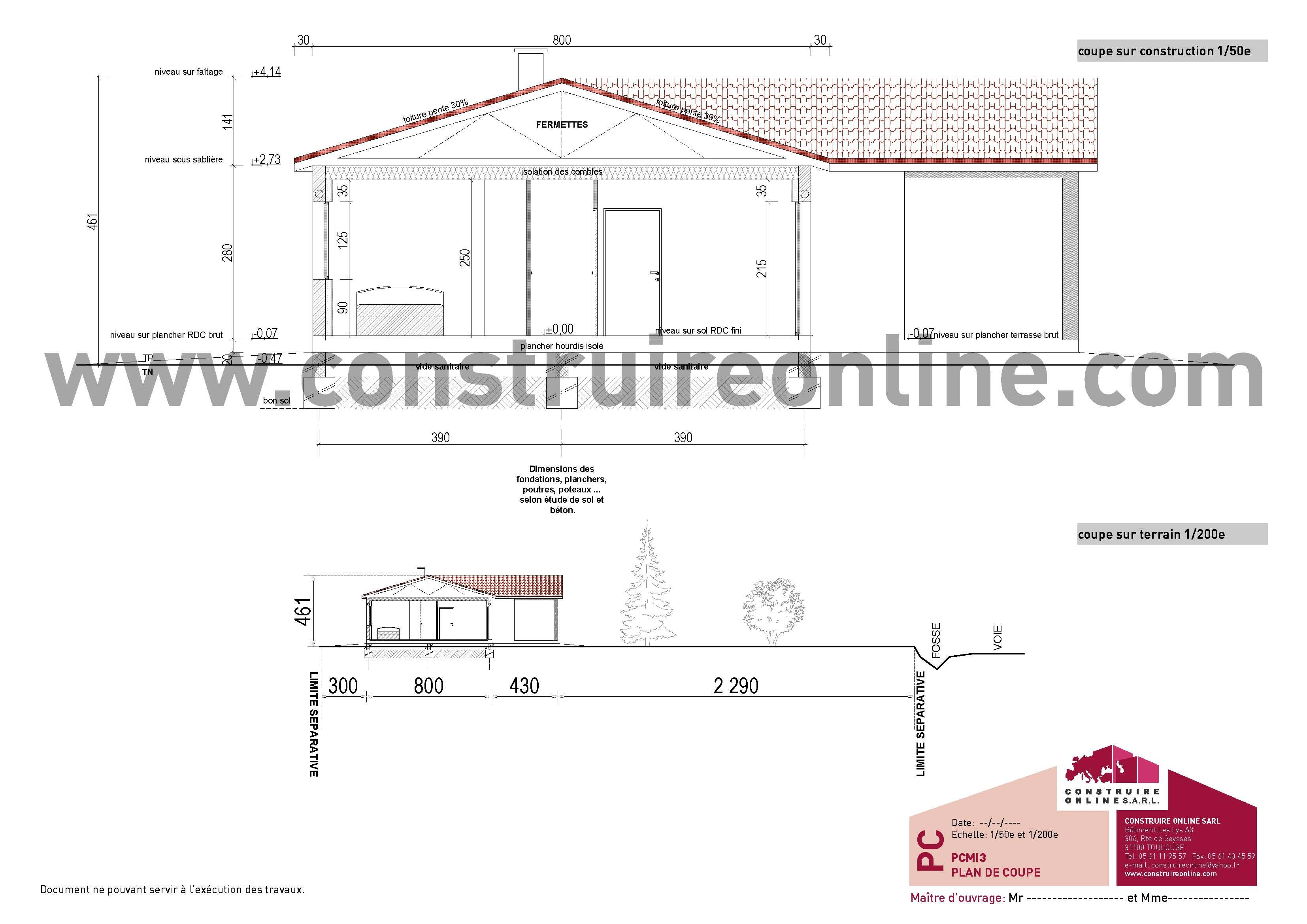 Pi ce pcmi3 permis de construire de maison individuelle - Plan en coupe terrain et construction ...