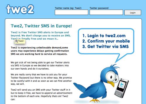 twe2 Twe2, le retour des SMS sur twitter!