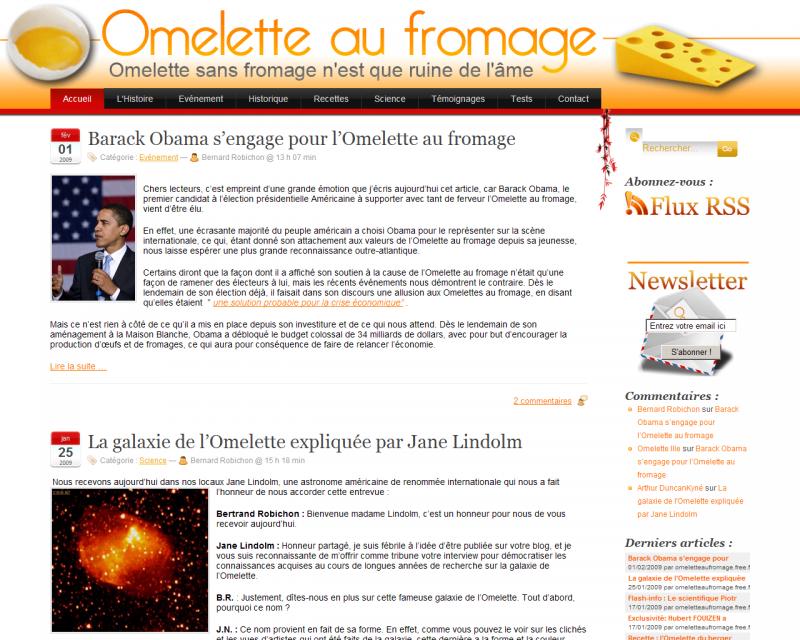 [Blogosphère] découverte d'un blog Omelette fromage
