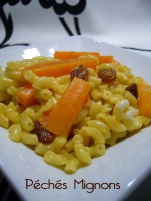 Pâtes, Epices, Curry, Gingembre, Carottes, Raisins secs, Fruits secs,