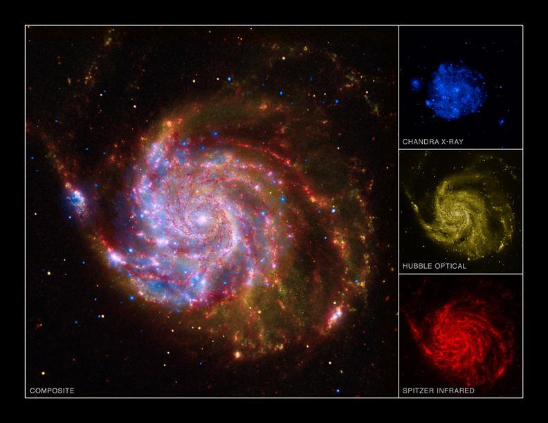 La galaxie M 101 photographiée par les plus grands observatoires du monde