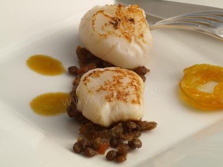 Saint-jacques au chutney de lentilles (michel rocherdy a courchevel)