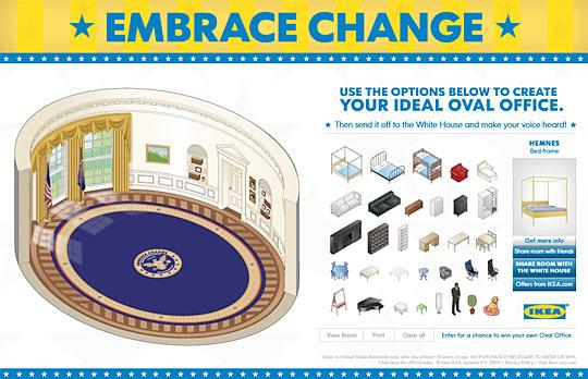 IKEA + la déco du Bureau Ovale = double-effet Guerrilla-marketing + Outil web virtuel...