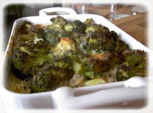 Gratin de pommes de terre et brocolis au Roquefort