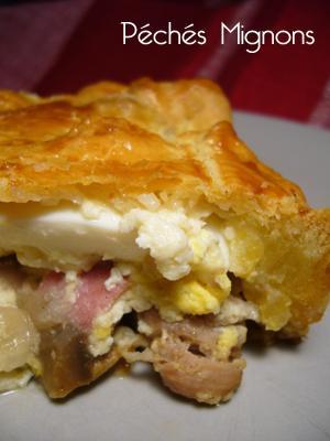Poulet, Oeufs, Crème, Pâte brisée, Champignons, Bacon,