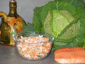 Nems de choux vert au saumon et petits légumes