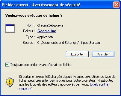 Télécharger le fichier d'installation du navigateur Chrome