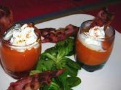 Verrines façon cappucccino carottes patate douce poitrine grillée