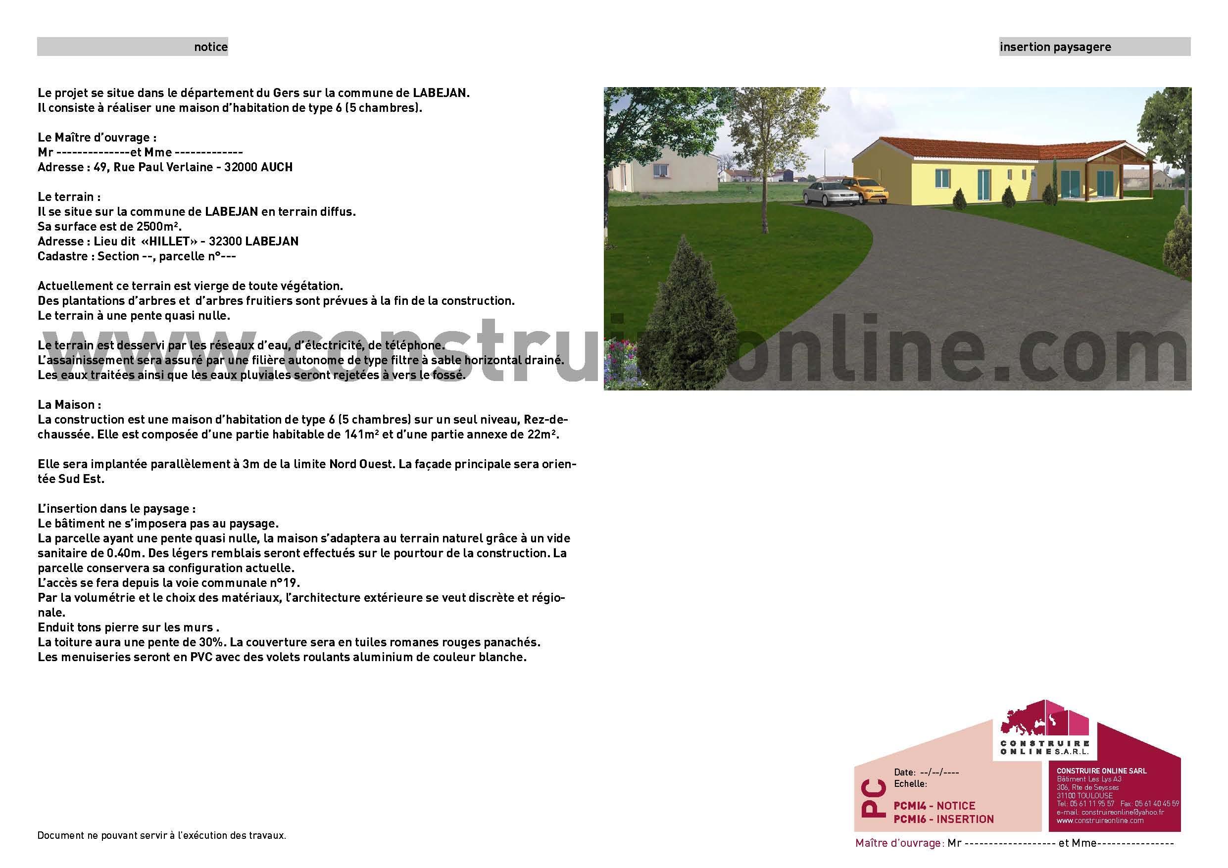 Pi ce pcmi4 permis de construire de maison individuelle for Notice descriptive permis de construire