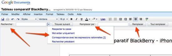 google documents rechercher remplacer Google Documents implante un véritable rechercher et remplacer sur Documents