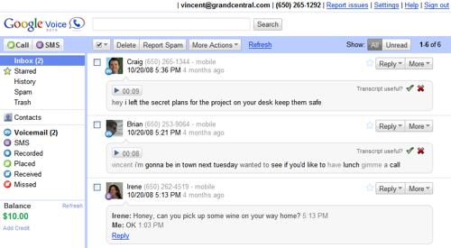 inbox2 De GrandCentral à Google Voice