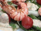 Salade d'asperges vertes gambas plancha, mayonnaise l'orange