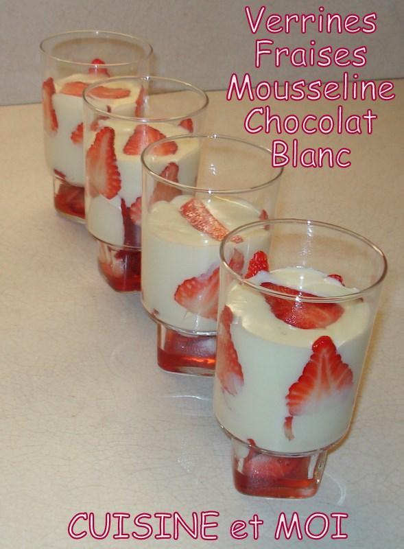 verrines fraises mousseline chocolat blanc lire. Black Bedroom Furniture Sets. Home Design Ideas
