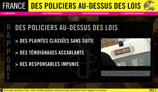 Amnesty International - Rapport France : des policiers au-dessus des lois (avril 2009)
