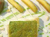 cabillaud rôti croûte pesto, polenta croustillante parmesan, caviar d'aubergines concassée tomates, crèm