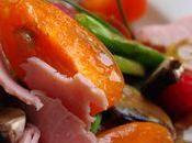 Salade abricots, jambon...