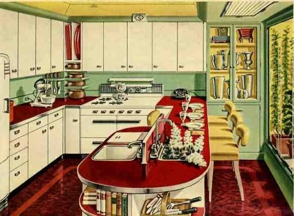 1930 retro chrome kitchen 582x684 1946 kitchen 582x427 - Cuisine Retro Annee 50