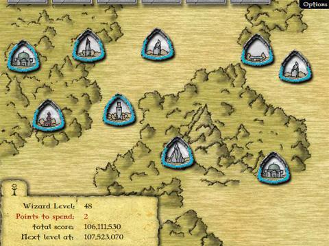 GemCraft - carte des niveaux (vue partielle)