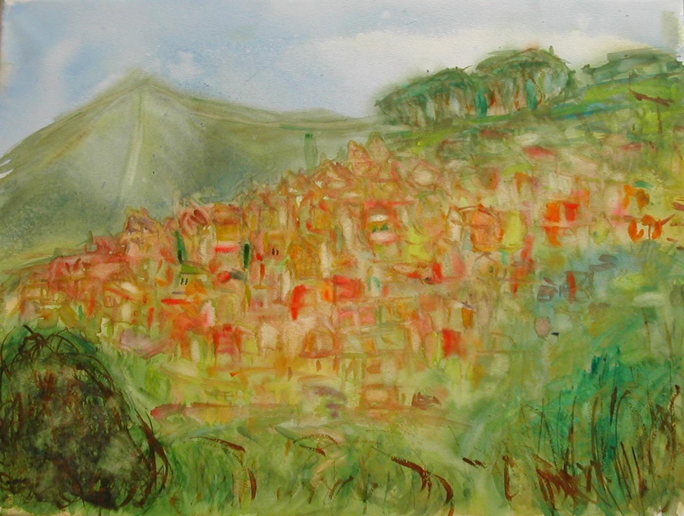 Vue sur le village de bormes les mimosas var aquarelle for Degre d humidite ideal maison