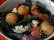 Salade penne, melon, bleu compagnie