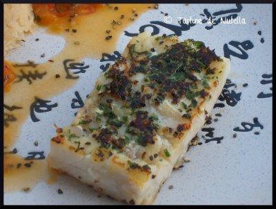 Cabillaud en croûte de persil-echalote et sa compotée de légumes