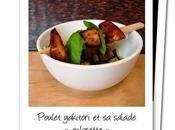 Brochette poulet yakitori salade d'herbes