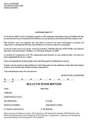 Engagement de la rando la sapinoise (42) le 24 octobre 2009