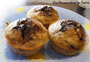 Muffins banane marbrés chocolat
