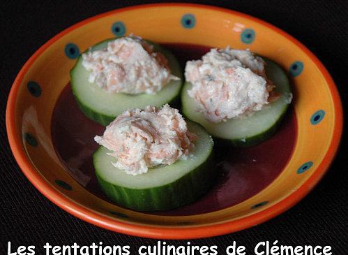 Rillettes de saumon sur concombre