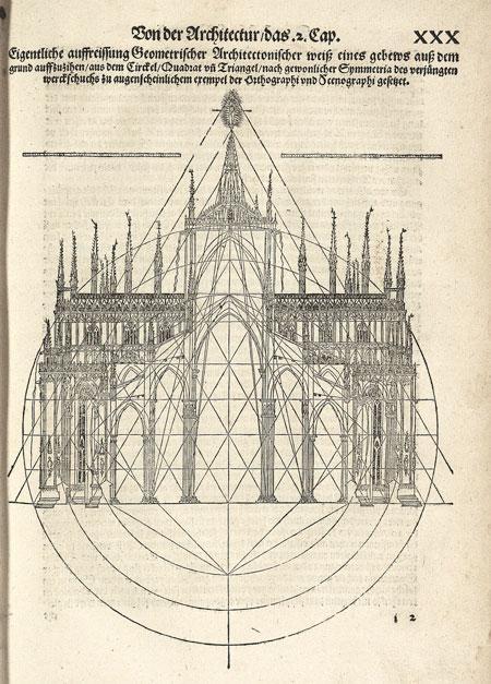 Élévation du Duomo de Milan selon le schéma ad triangulum