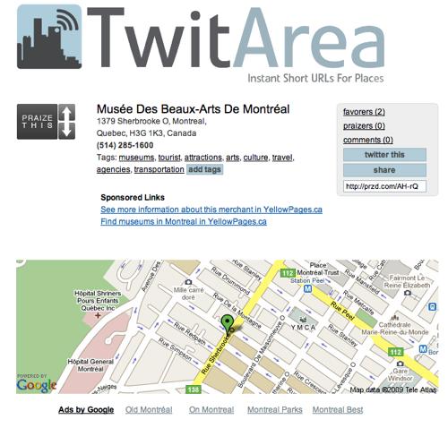 twitarea 1 TwitArea: trouvez et partagez des lieux sur Twitter