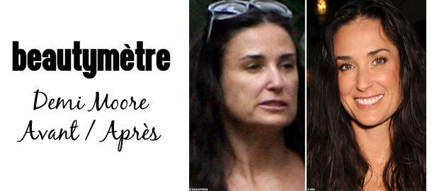 Beautymètre : Demi Moore avec et sans maquillage