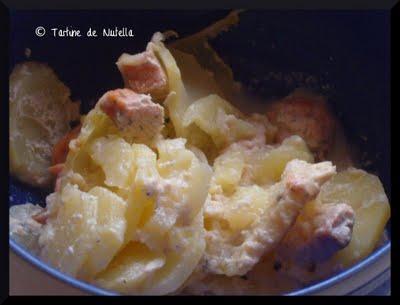 Gratin de pommes de terre au saumon et aneth