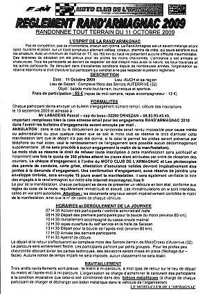 Engagement de la Rand'Armagnac (32) le 11 octobre 2009
