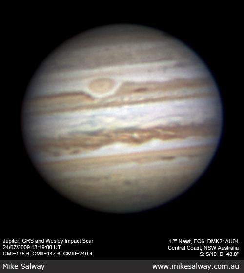 Jupiter, Grande Tache rouge et l'impact de Wesley