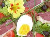 Salade verte croûtons canard