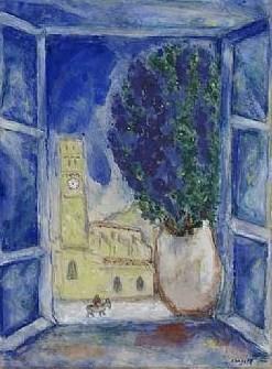 Marc chagall peintre fran ais aquarelliste ses heures for Marc chagall paris vu de ma fenetre